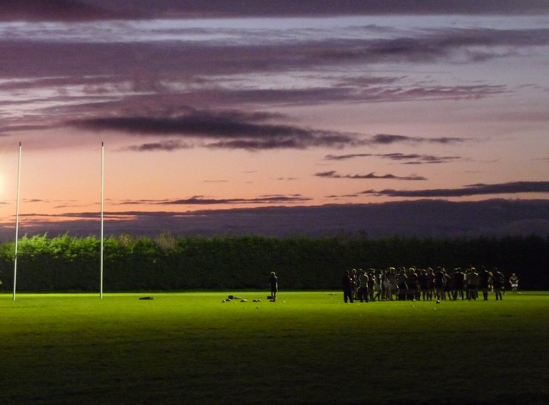 A training session at Corinthans rugby club, Galway. Darkness falls very quickly at this time of year.