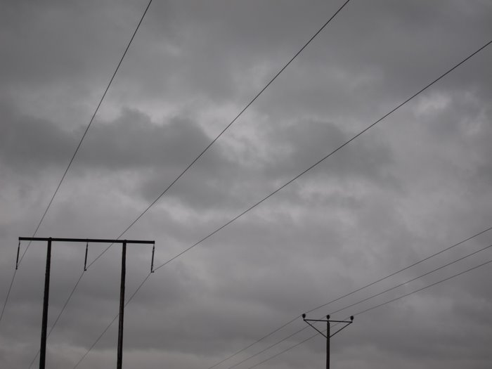 grey power cables in a grey sky