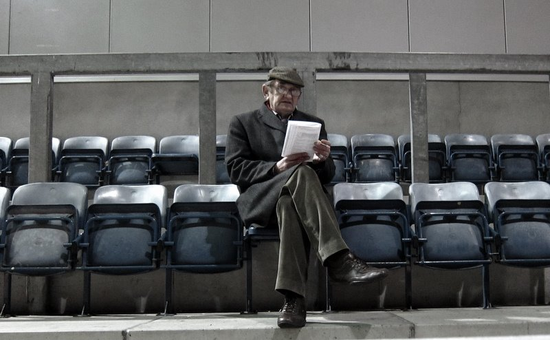 An old man studying the form at the Galway greyhound track