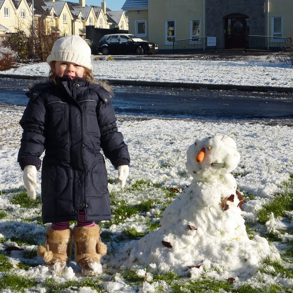 a snowman built in Galway by my daughter