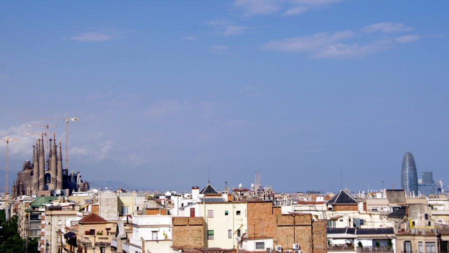 Barcelona skyline- old and new