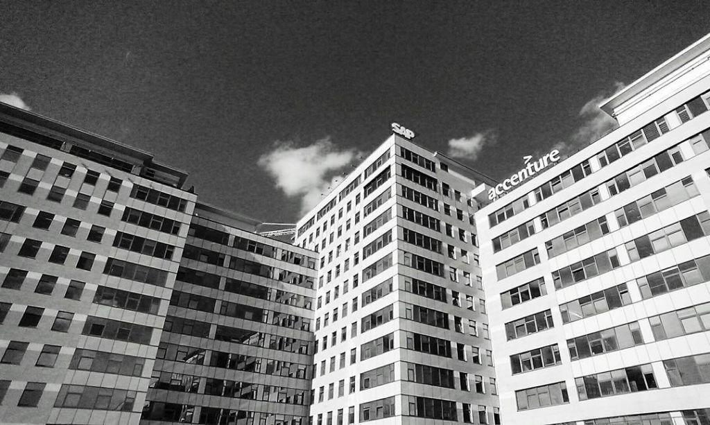 Black and white sky scraper buildings business area in Bratislavahellip
