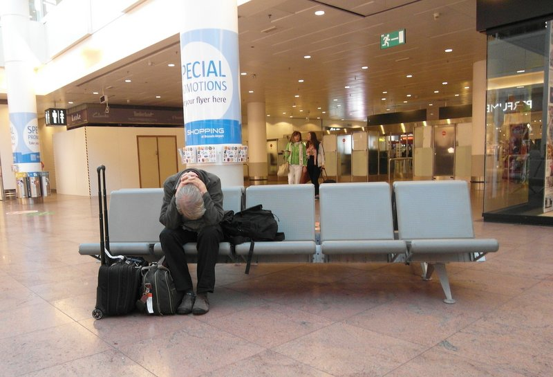 Brussels airport sleeping