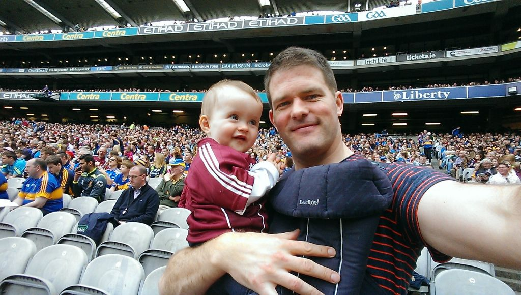 A happy baby supporting Galway in the hurling at Croke Park